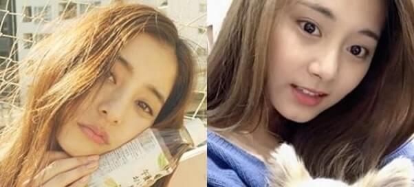 モデル・新木優子とTWICE・ツウィの比較画像
