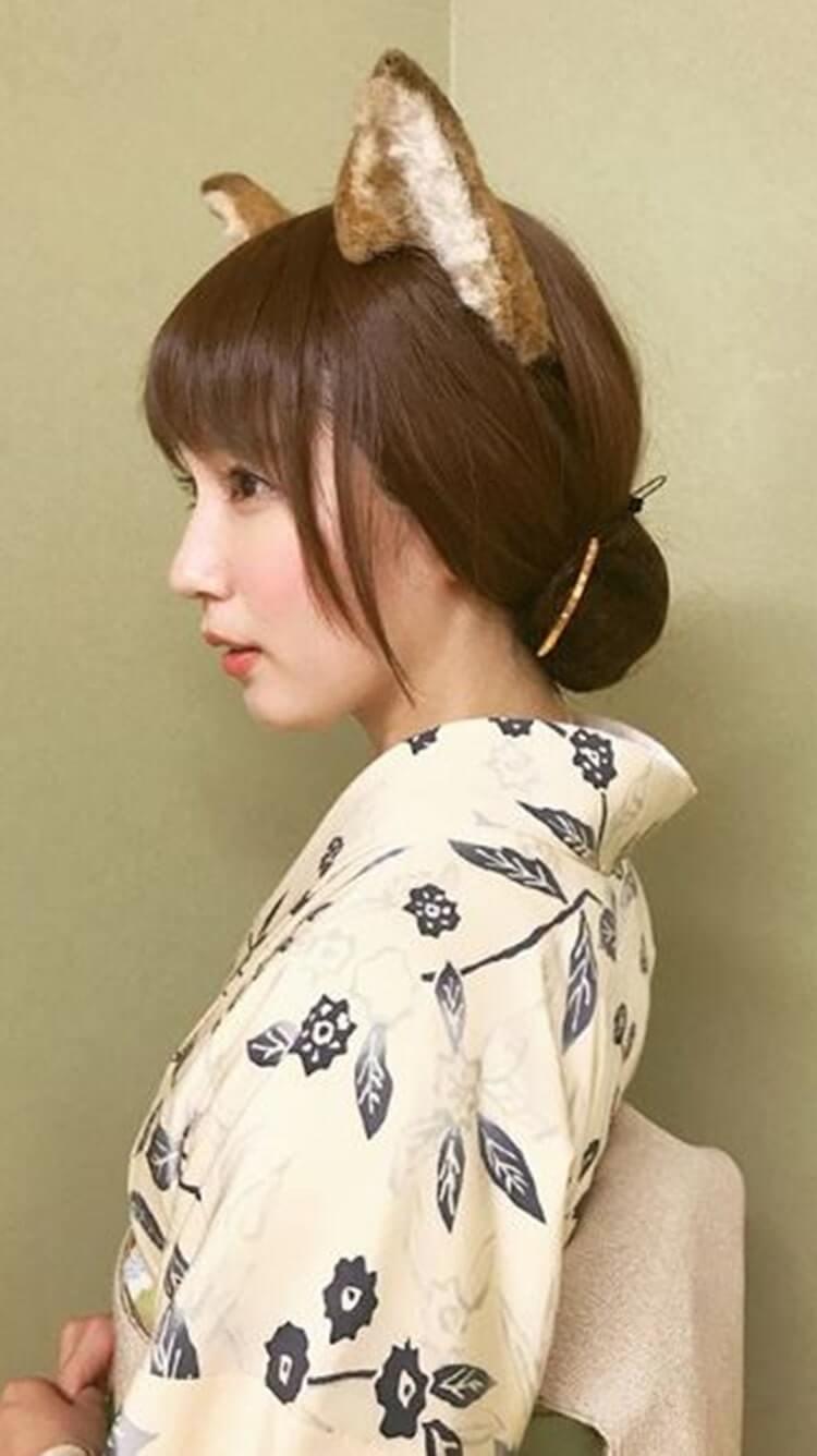 猫耳を付けた浴衣姿の女優・吉岡里帆