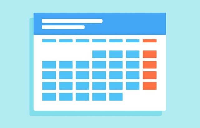 水色のカレンダー