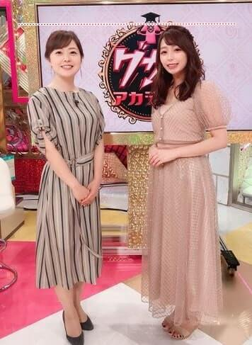 撮影スタジオに立つ水ト麻美アナウンサーと宇垣美里アナウンサー