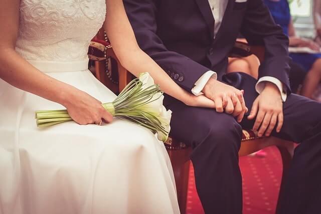 結婚式の花嫁と花婿